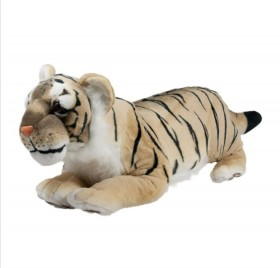 Плюшен легнал тигър бежов 80см