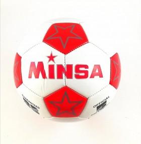 Футболна топка 5-ца /кожа/ звезди червена