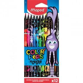 Цветни моливи Maped Color Peps Black Monster, 12 цвята