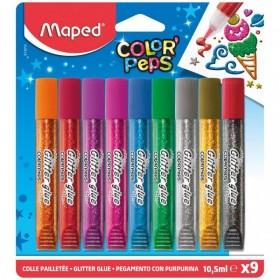 Лепило - Maped Color Peps Glitter Glue, 9 цвята х 10,5 мл