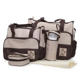 Комплект чанти за аксесоари Stella кафяв