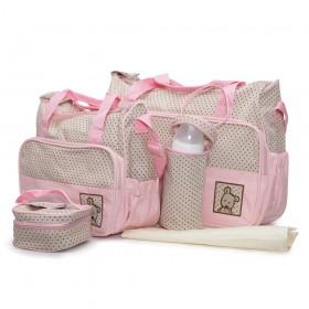 Комплект чанти за аксесоари Stella розов