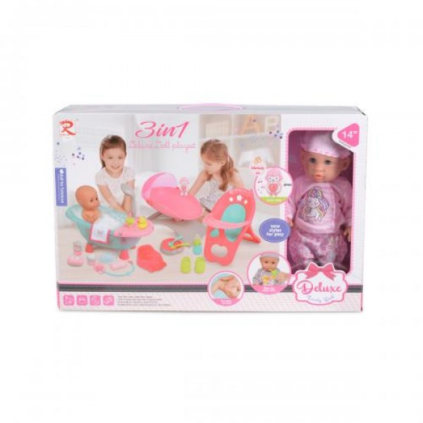 Кукла 36 см с аксесоари 3в1 - 8186