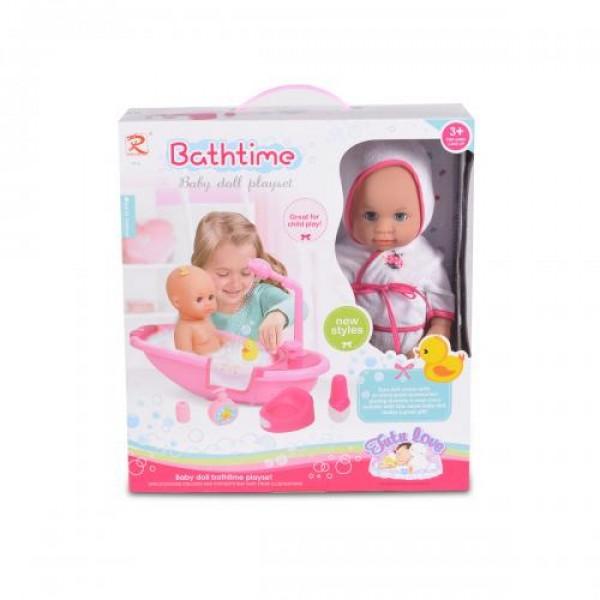 Кукла 36 см пишкаща с вана за къпане - 8108
