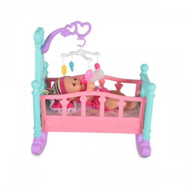 Кукла 31 см пишкаща с легло и стол за хранене - 8291