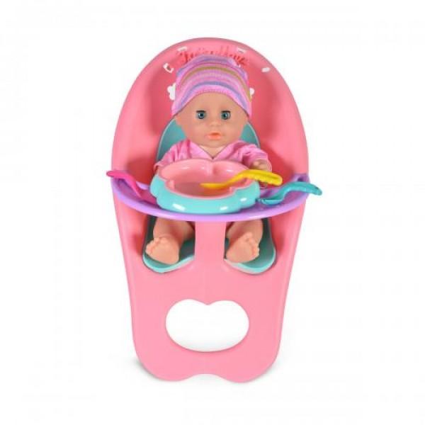 Кукла 31 см пишкаща с легло и стол за хранене - 8295
