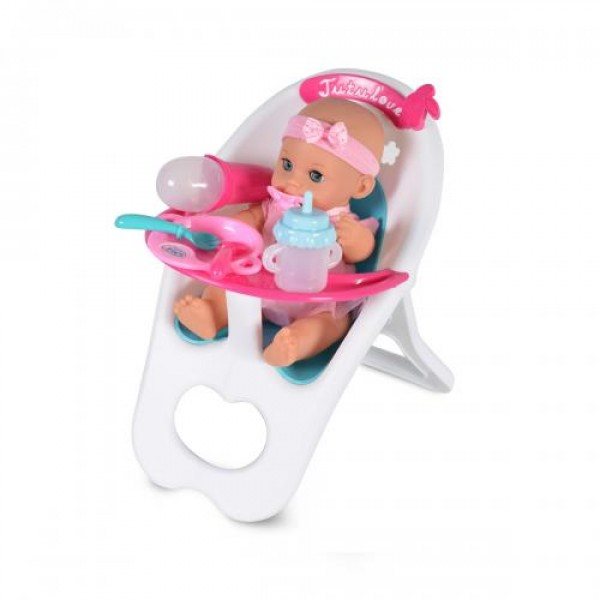 Кукла 36 см пишкаща със стол за хранене - 8383