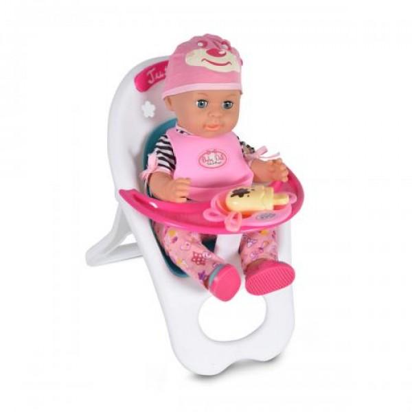 Кукла 36 см пишкаща със стол за хранене - 8385