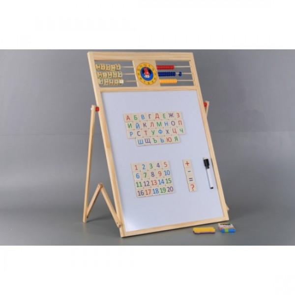 Дървена магнитна ученическа дъска с българската азбука, сметало и часовник 2 в 1