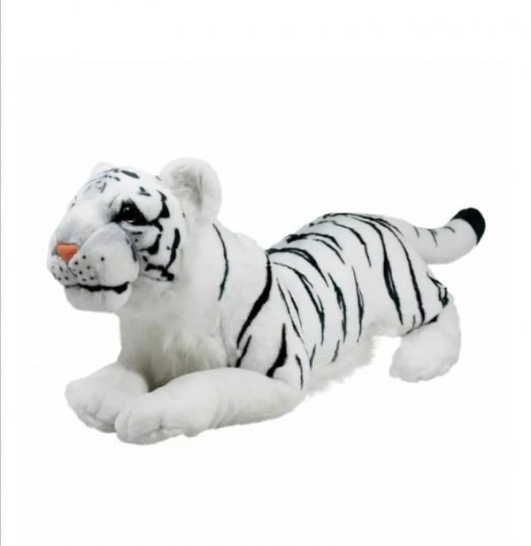 Плюшен легнал тигър бял 80см