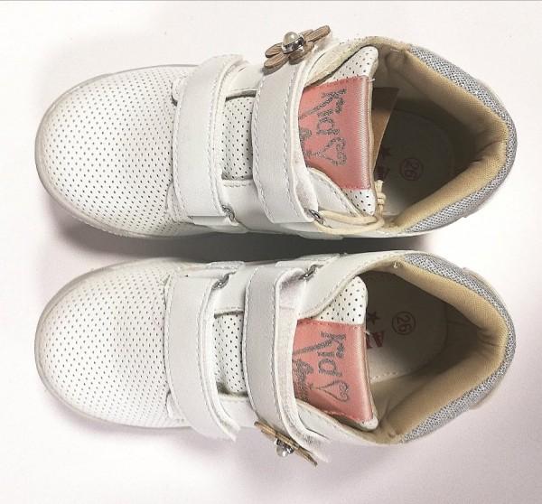 Кожени обувки момиче бял
