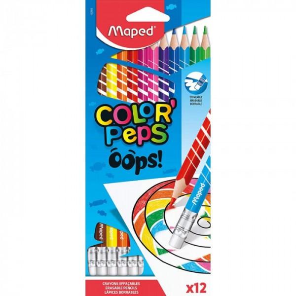 Цветни моливи Maped Color Peps OOPS, изтриваеми, 12 цвята