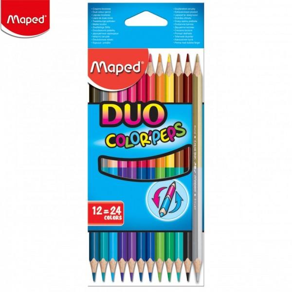 Цветни Двувърхи Моливи Maped Дуо, 24 Цвята