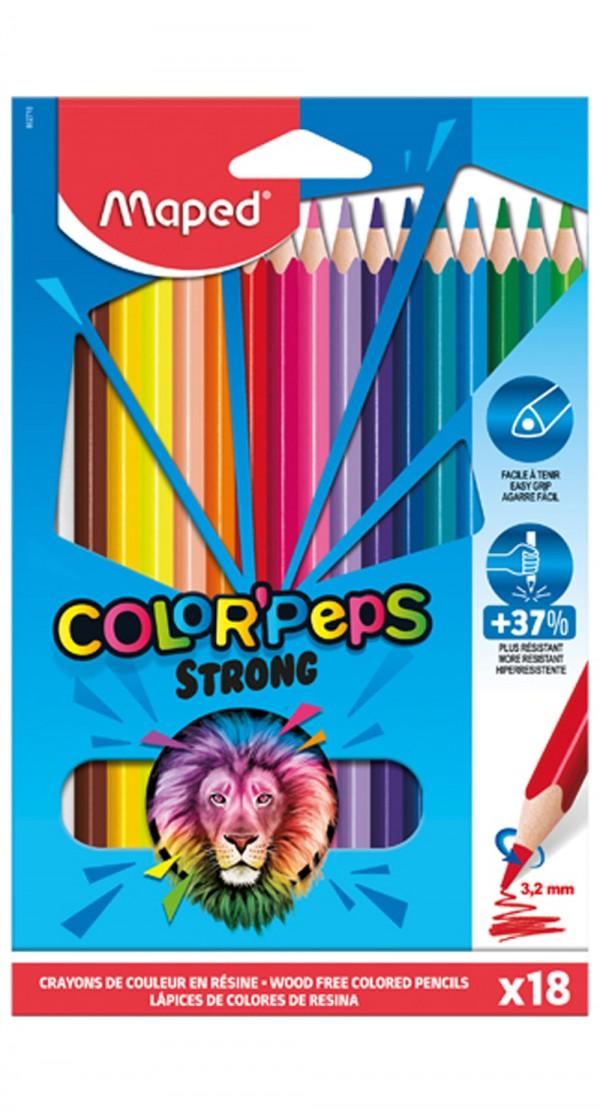 Цветни моливи Maped Color'peps Strong, 18 цвята
