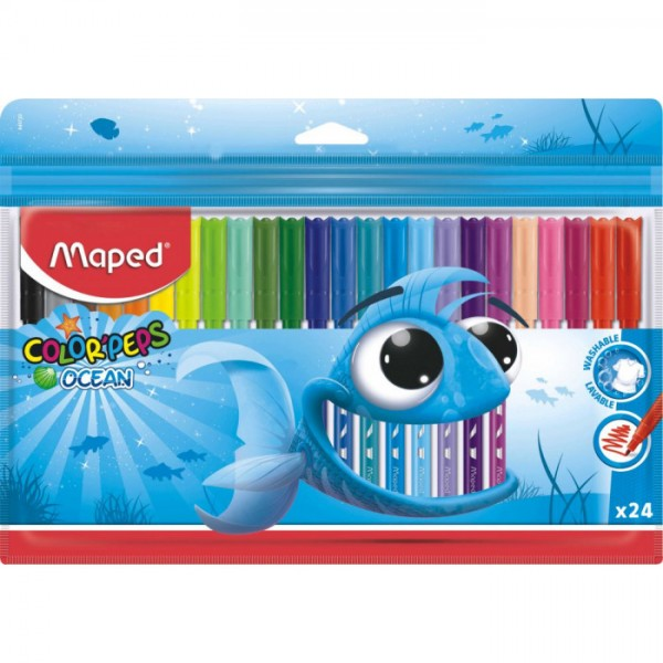 Флумастери Maped Color Peps Ocean, 24 цвята