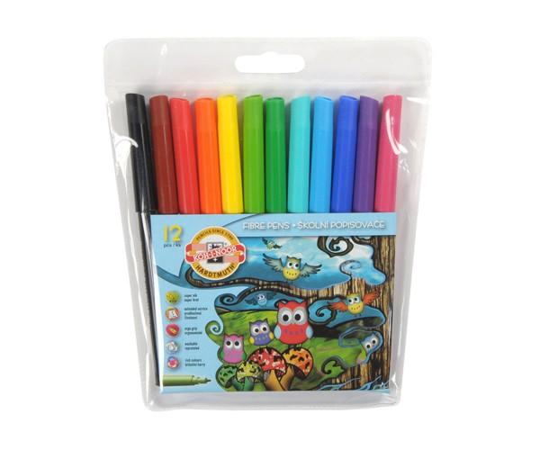 Флумастери Koh-i-Noor бухалчета, 12 цвята