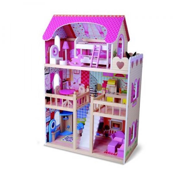 Дървена къща за кукли с обзавеждане Emily