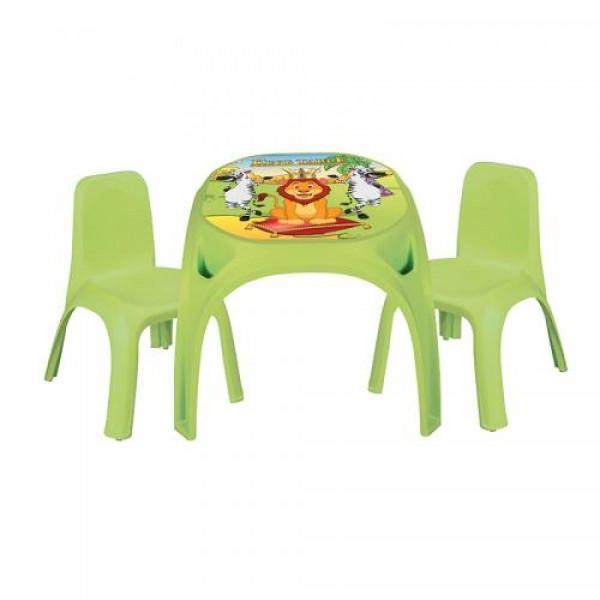 Маса King с 2 стола - 03422 зелен